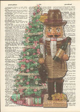 Christmas Wine Nutcracker Tree Altered Art Print Upcycled Vintage Dictionary
