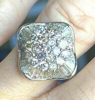 Vintage 14k White Gold 2.44tcw Blue Pink Yellow Diamond Ballerina Ring 6.5g