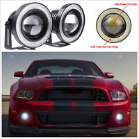 "2Pc 30W LED COB DRL Angel Eyes 2.5"" Car Fog Light Lamp Projector Lens Bulb Kit"