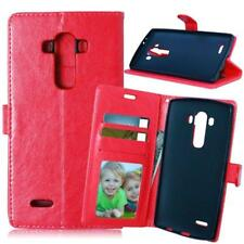 Luxury Leather Magnetic Flip Wallet Case Cover + Tempered Glass For LG G4 G3 G2