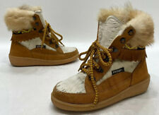 Oscar Sport Alessia Womens Tan Beige Suede Fur High Winter Lace Up Boots Size 38