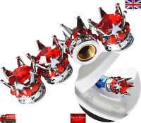 Silver Crown Red Diamond Car Tire Tyre Valve Dust Caps Covers Set 4