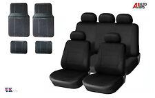 BLACK CAR SEAT COVERS & RUBBER CAR MATS SET FOR CITROEN C3 C4 C5 BERLINGO ZX XM