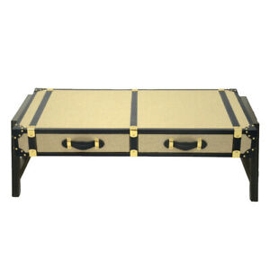 Unique Designed Beige Fabric 2 Drawer Handmade Coffee Table