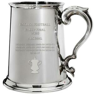 Arsenal English FA Cup Total Wins History 1pt Pewter Tankard Gift