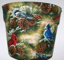 BLUE JAYS CARDINALS CHRISTMAS FLOWERPOT GIFT WRAP SUPPLIES BASKET CONTAINER