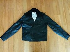 NWT ASOS Biker Jacket Genuine Leather Removable Sherpa Collar