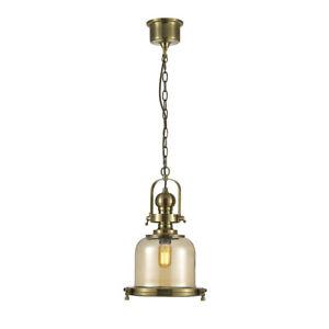 Hanging Lantern Bell Glass Kitchen Pendant Antique Brass Traditional Handmade
