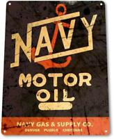 Navy Motor Oil Metal Sign Gas Oil Auto Garage Decor Sign