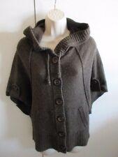 KENJI CARDIGAN BUTTON BIG Stitch BROWN Sweater HOOD SZ M EC!! Lambswool