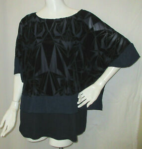 Chico's 2 L Over-sized Top Navy Blue Burnout Velvet with Attached Knit Tank