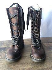 RARE triumph Dr. MARTENS size  BROWN leather FUR winter MID calf 12108 Sz 6 USA