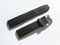 22mm Breitling 152S Caoutchouc Armband schwarz black mit Dornschliesse I545