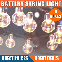 Battery Powered  Bulb String Lights Garden Outdoor Fairy BBQ Party: Box of 6
