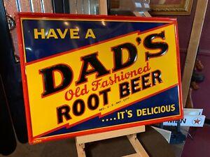 "27"" Tin Embossed DAD'S Root Beer 1940's Advertising Signs  ""Watch Video"""