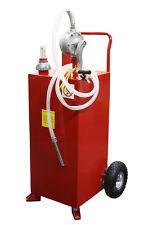 30 Gallon Gas Caddy Tank Gasoline Fluid Diesel w Rotary Pump and Hose