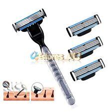 4Pcs Generic Replacement Razor Blades + Handle For Gillette Mach 3 Shaving Razor