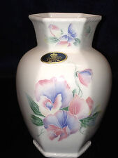 "AYNSLEY ENGLAND LITTLE SWEETHEART 5"" CHELFORD VASE PASTEL TROPICAL FLOWERS"