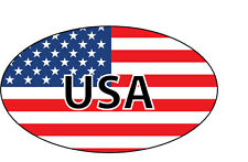USA FLAG IN OVAL SHAPE WITH USA WORDING VINYL STICKER -16 cm x 9 cm