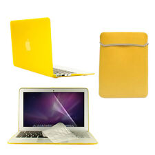 """4 in1 Rubberized YELLOW Case for Macbook Air 11"""" + Key Cover + LCD Screen+ Bag"""