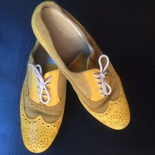 TREMP  OXFORDS Womens 37 / 7 M Yellow Leather Lace Up FLAT Shoes Italy