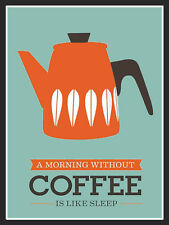 METAL VINTAGE SHABBY-CHIC TIN SIGN A MORNING WITHOUT COFFEE WALL PLAQUE