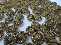 Vintage Antique Gold Black Crest Shank Buttons Lot of 60 B21