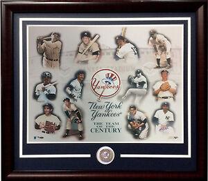 NY Yankees team Century 16x20 photo framed coin Babe Ruth Mickey Mantle LE /500