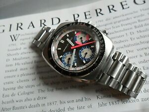 Vintage 1970's S/S Girard Perregaux Three Register Chronograph Swiss Watch 9935
