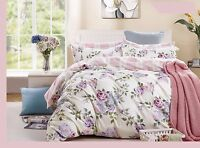pink-purple rose cotton bedding set: duvet cover set, twin/full/queen/king/cal k