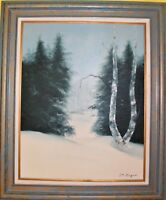 Large Original Framed Oil Painting on canvas Landscape, Winter, Signed Gagnon
