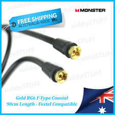 Monster Cable - Gold RG6 F-Type Coaxial Cable - 0.9 mtr 3ft - Foxtel, Austar