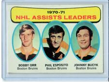 1971-72 Topps Hockey - NHL ASSISTS LEADERS - Card #2 - ORR, ESPOSITO, BUCYK