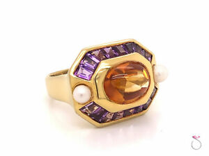 Citrine, Amethyst and Pearl Statement Halo Ring, 5.00 Carat, 18K Yellow Gold