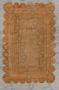 Scallop Natural Jute Hand Made Rug, Decor Rug Customize in Any Size.