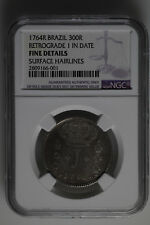 1764R  Brazil 300 Reis Retrograde 1 in Date NGC - Rare Error Coin