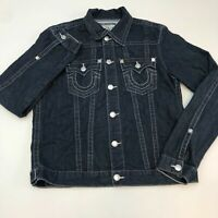 True Religion Denim Trucker Jacket Men's XL Long Sleeve Blue Button Front Cotton