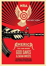 A4 GLOSSY PHOTO SHEPARD FAIREY USA NRA AMERICA WEAPONS GUNS PRINT POSTER #6