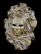 Masque de Venise visage Volto cuir blanc doré Collection prestige - 2110