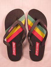 Mens RED STRIPE Sandals Flip Flops Jamaican Lager Beer Rasta NEW Size 43EU /10US