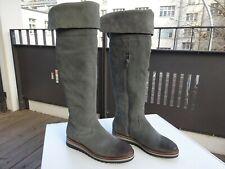 PIER ONE Damen Schuhe Overknee Stiefel Wildleder Grau Gr.38 f.Neuwertig