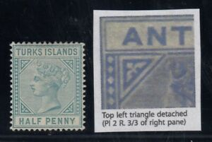 """Turks Islands, SG 53b, MHR """"Top Left Triangle Detached"""" variety"""