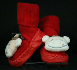 INFANT BABY BOOTIE ANTI-SLIP SLIPPER KNIT UPPER W/LEATHER SOLE 3D RED COW S,M,L
