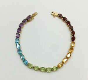 "10 Ct Rainbow Multi Gemstone Oval Tennis Bracelet 7.5"" In 14k Yellow Gold Over"