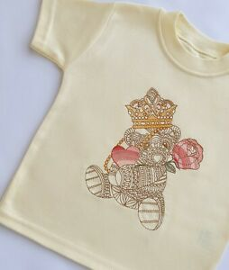 Girls T - shirt, embroidered shirt,unisex t-shirt, Embroidery design, 3-6 month