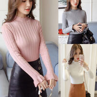 Women Knit Tops Sweater Jumper Jersey Knitwear Mock Neck Slim Basic Shirt Blouse