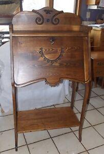 Carved Chestnut Drop Front Secretary Desk  (DR74)