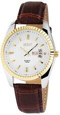 Herrenuhr Weiß Gold Silber Tag & Datum Analog Quarz Armbanduhr D-100000200083795