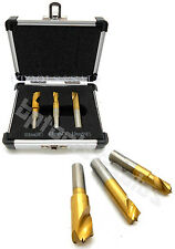 """3pc HSCO Titanium Spot Weld Drill Bit Cutter Flat Shaft 1/4"""" 5/16"""" 3/8"""" Cobalt"""
