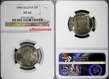 Algeria French 1949 20 Francs NGC MS64 Scarce High Grade Toned KM# 91